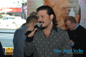 Celso Dulay tells the crowd the Blue Angel story