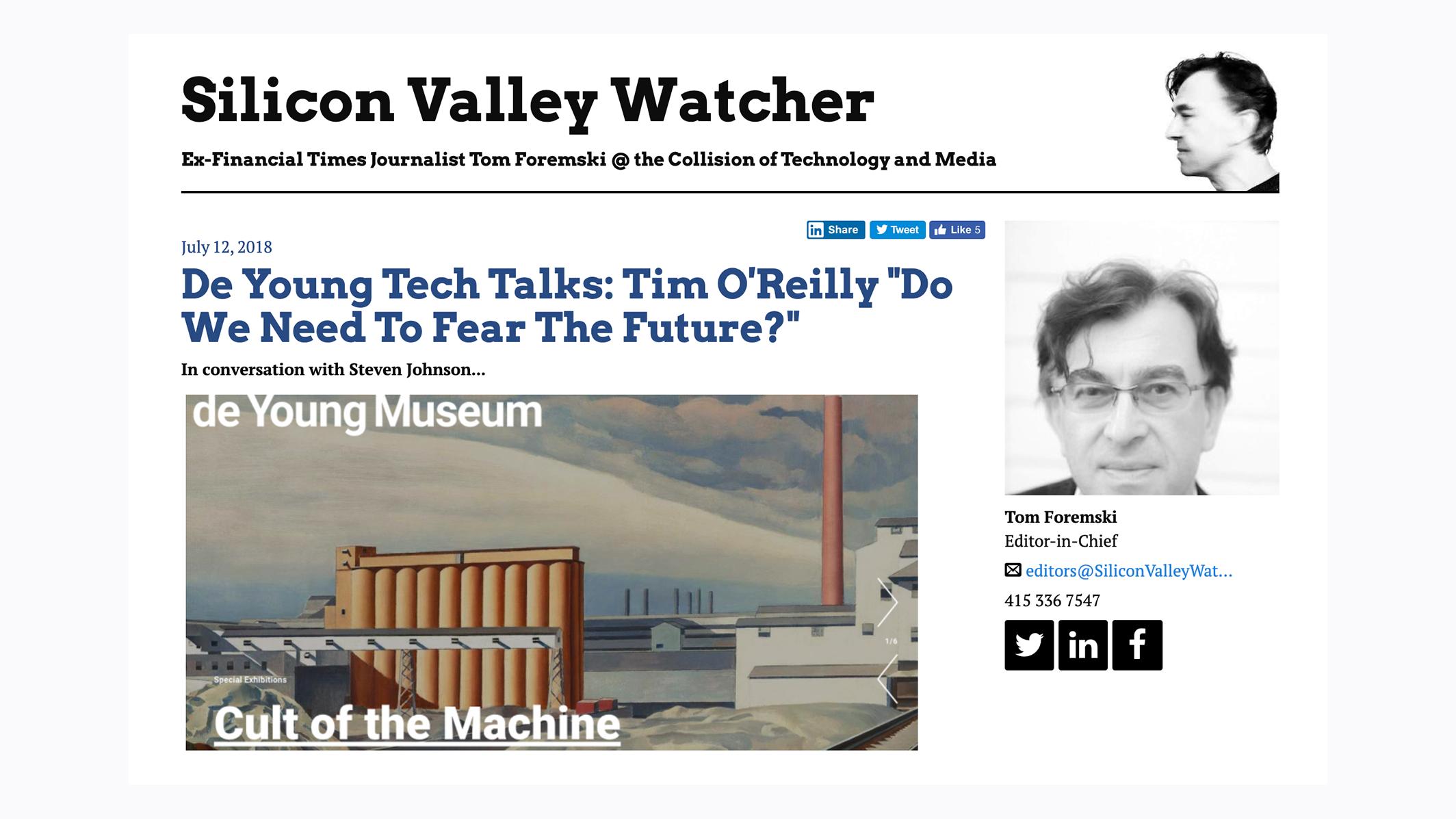 Tom's story on Tim O'Reilly talk