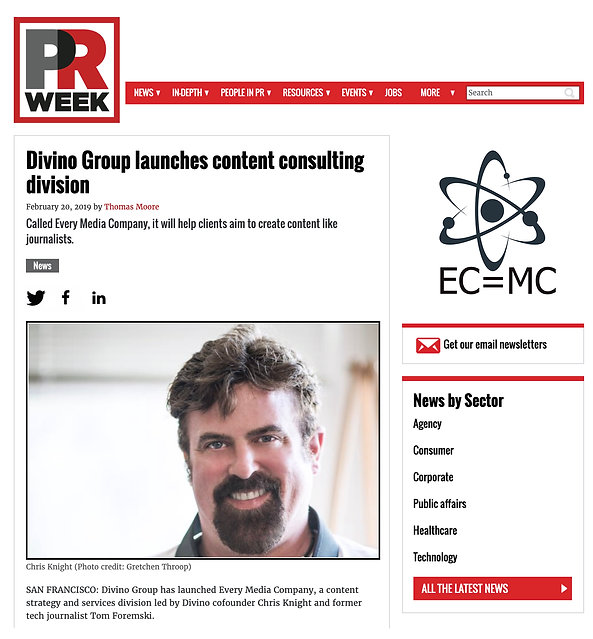 About EMC promo page - PRWeek launch sto