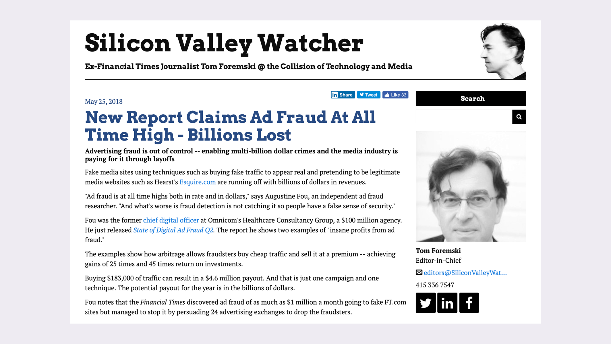 Tom's story on digital ad fraud