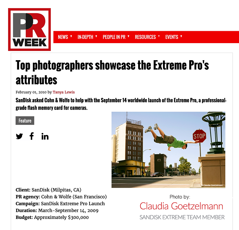 PRWeek story on SanDisk Extreme Pro camp