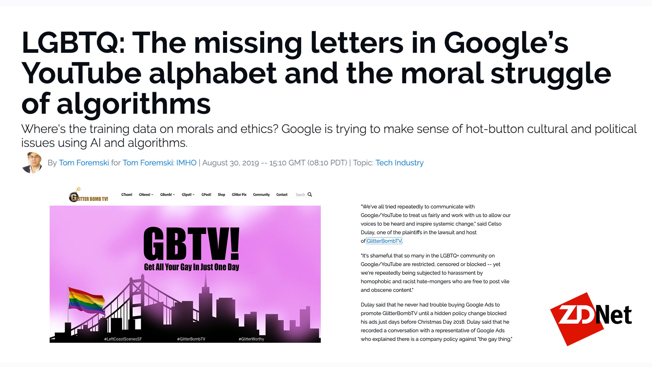 Tom's story on LGBTQs vs. Google