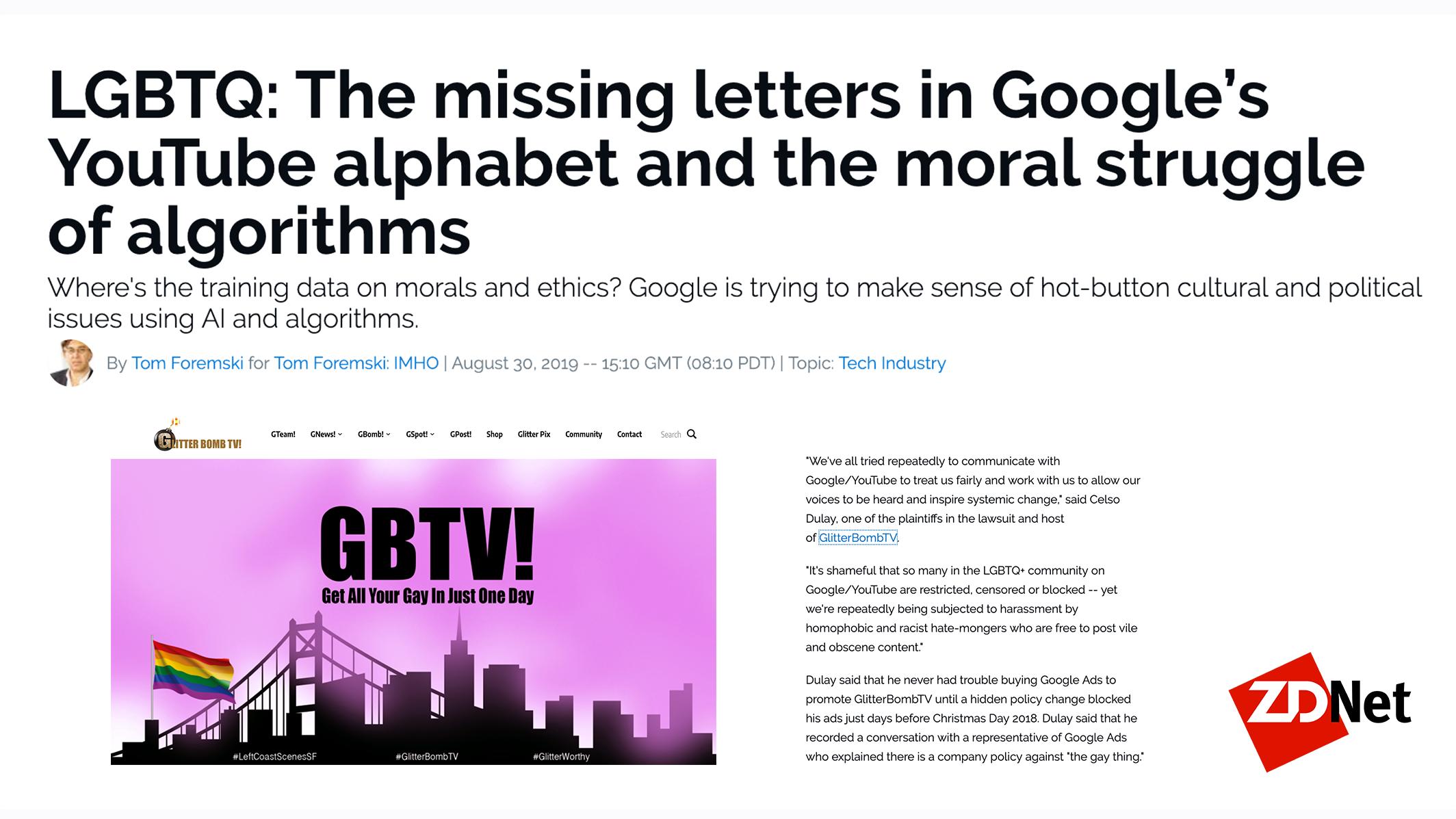 Tom's story on LGBTQs vs. Google