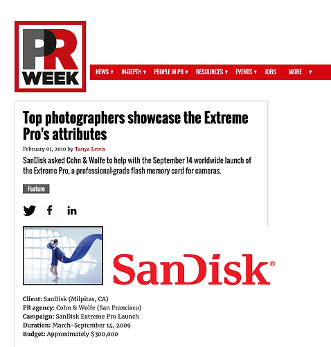 Promo for PRWeek Award for SanDisk campa