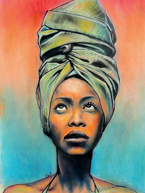 A Poet's Voice -  Erykah Badu Print (Stretched Canvas)