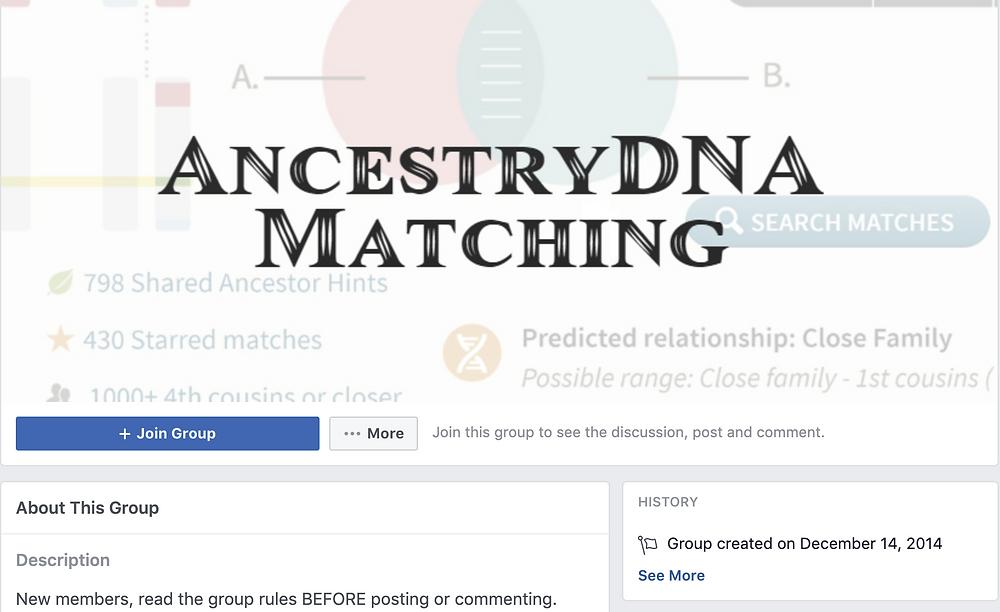 Facebook group for Ancestry DNA