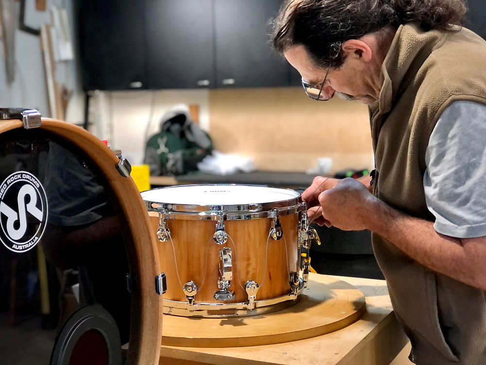 Collaboration between Red Rock Drums Australia and WTS Drums with the Welch Tuning System - building the snare drum