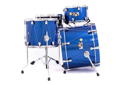 WTS Epiphany Series drums   3-piece shell pack   Blue Sparkle wrap finish   7-ply maple shells   WTS single-point drum tuning