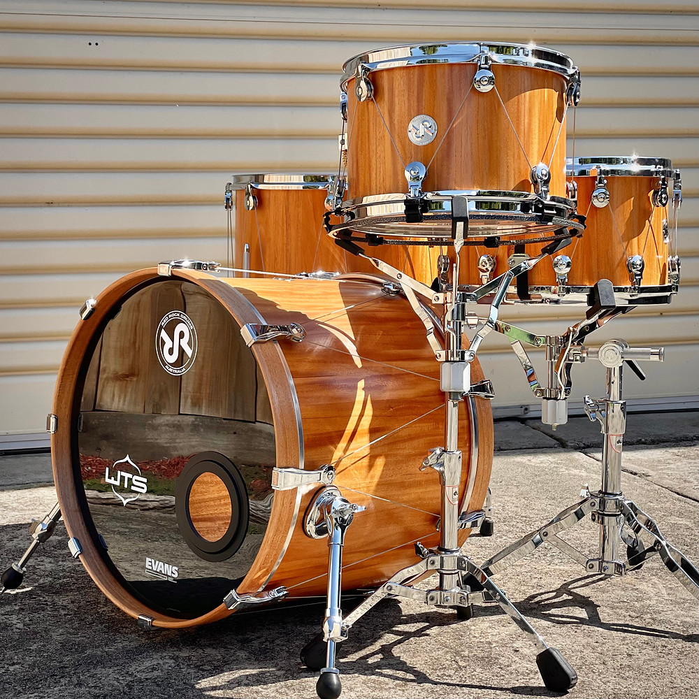 3 piece shell pack and snare - Collaboration between Red Rock Drums Australia and WTS Drums with the Welch Tuning System