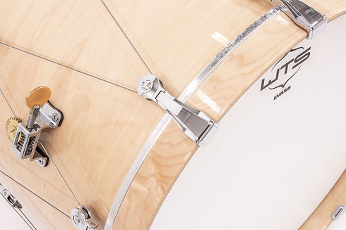 WTS bass drum with the Welch Tuning System bass drum claw and tuning knob