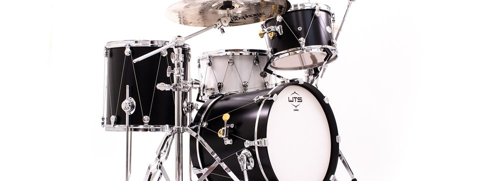 Satin Black 3/4 WTS Artistry Series 3-piece shell pack and snare drum featuring the revolutionary WTS single-point drum tuning system on all WTS drums | Welch Tuning Systems, Inc.