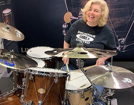 WTS artists and collaborations - Tammy Mitchell-Woods from Drummergirls United plays WTS drums at NAMM 2020