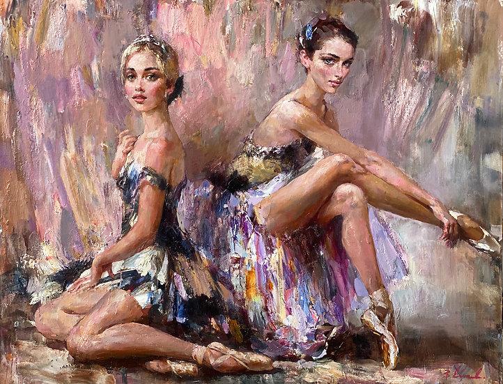 Владимир Ежаков \ Vladimir Ezhakov - Девушки из кордебалета \ Dancers -115x145sm