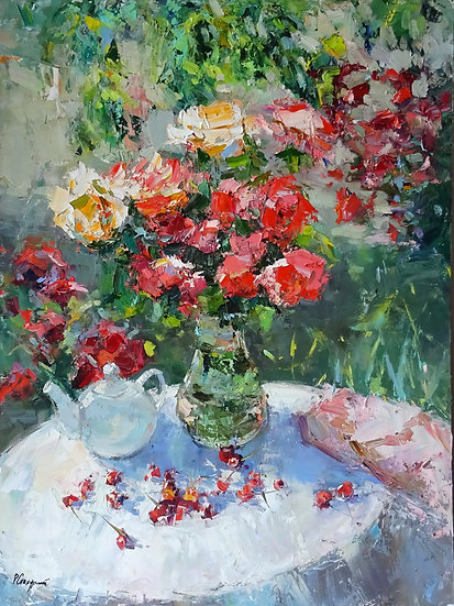 Рустем Стахурский - Розы и черешня  \ Roses and the cherry - 80x60 sm