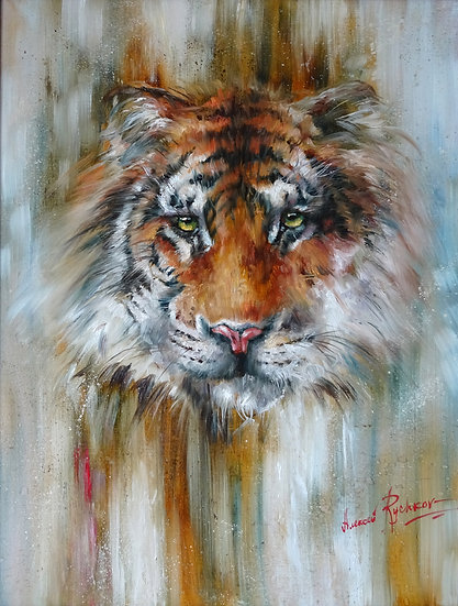 Алексей Рычков \ Alexey Rychkov - Хищник всегда смотрит прямо\ Tiger  - 80х60 sm