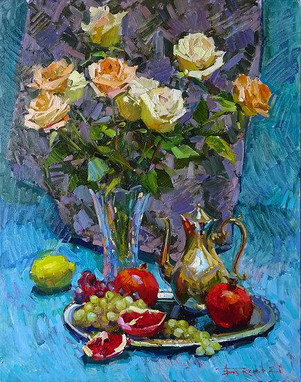 Vladimir Bazhenov \ Vladimir Bazhenov - Bouquet with fruit 90х70