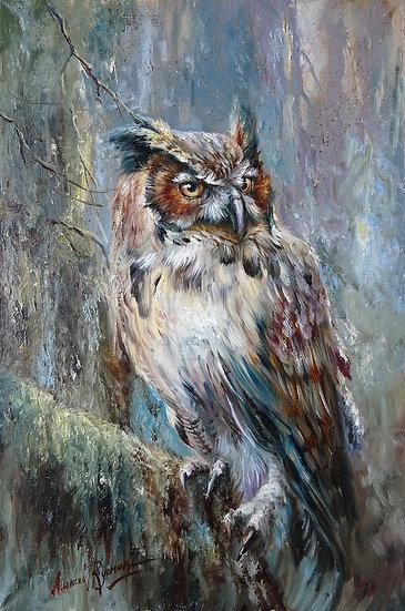 Алексей Рычков \ Alexey Rychkov - Мудрый филин \ The wise owl - 60х40 sm