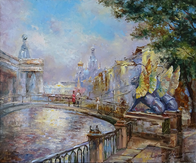 Алексей Рычков\Alexey Rychkov – У Банковского мостика\Walk at the city - 50x60