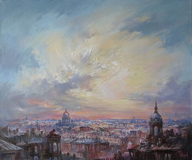 Юрий Степанов / Yuri Stepanov - Полет \ Sky of the city - 50x60 sm