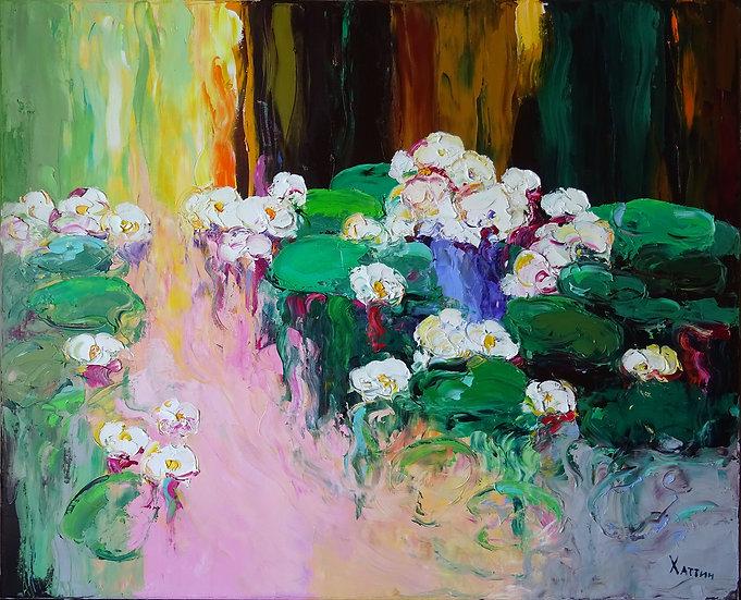 Khattin Valery - Lilies. Dawn \ Lily. Sunrise - 80x100 sm