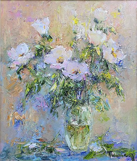 Туман Жумабаев \ Tuman Zhumabaev - Маковый рассвет  \ Poppy flowers - 70х60 см