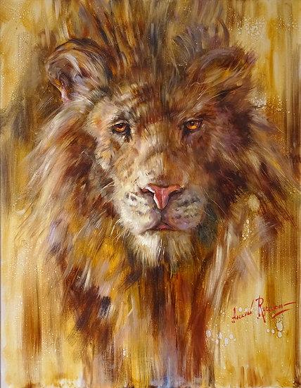 Алексей Рычков \ Alexey Rychkov - Главное, не кто прав, а кто Лев\Lion - 90х70sm