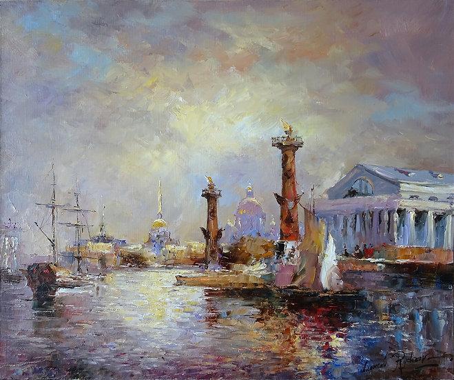 Алексей Рычков \ Alexey Rychkov   - Вечер на Неве \ Evening on the river - 50x60
