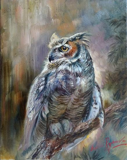 Алексей Рычков \ Alexey Rychkov - Мудрый филин \ The wise owl - 50х40 sm