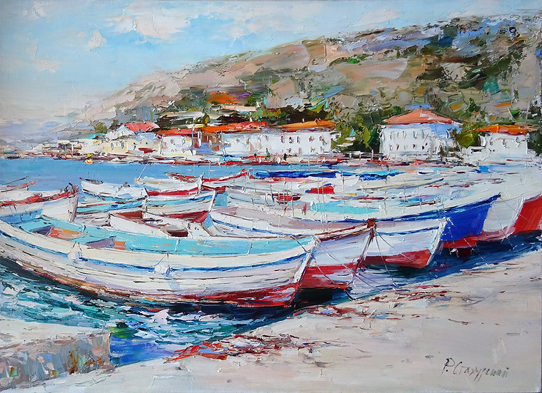 Rustem Stakhursky \ Rustem Stakhursky - Balaklava boats \ Boats - 50x70 cm