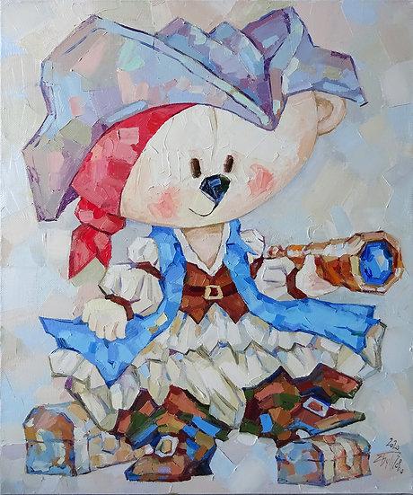 Елена Бутузова \ Elena Butuzova - Маленькая пиратка \ Little pirate - 60x50 sm