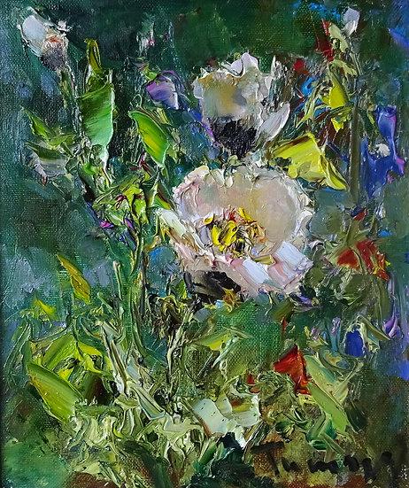 Туман Жумабаев \ Tuman Zhumabaev - Белые маки \ White poppy flowers - 22х26