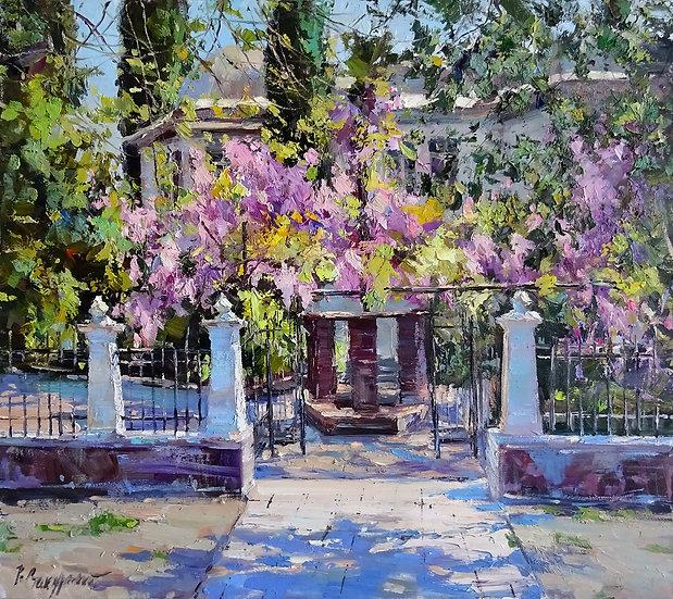 Рустем Стахурский - Цветущая глициния \ Flowering Wisteria - 50х60