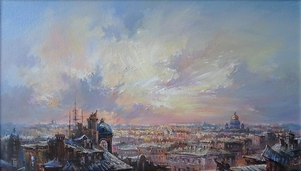 Юрий Степанов / Yuri Stepanov - Небо Петербурга \Sky of St.Petersburg - 40x70 sm