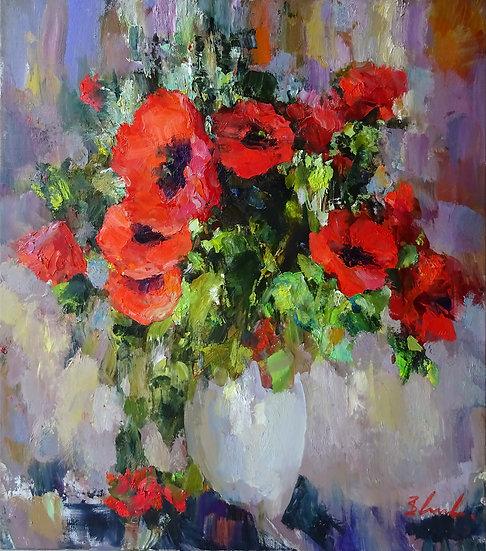 Владимир Ежаков \ Vladimir Ezhakov - Маки \ Poppy flowers - 90х80 sm