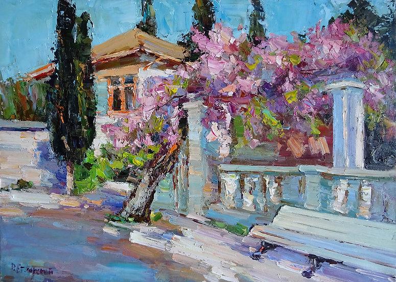 Рустем Стахурский - Цветущая глициния \ Flowering Wisteria - 50х70