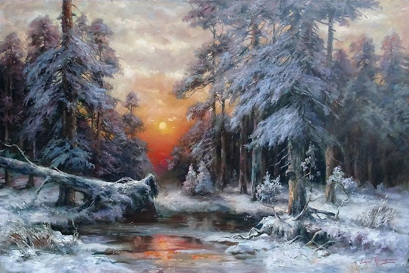 Алексей Рычков \ Alexey Rychkov - Зимний лес \ Winter forest - 80х120 см