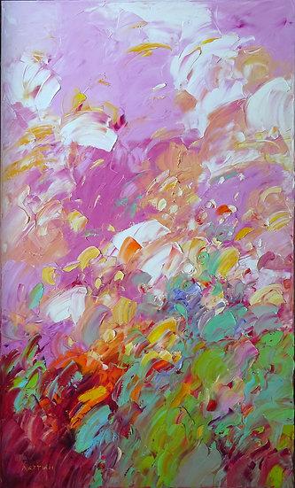 Хаттин Валерий / Khattin Valery - Розовая абстракция  \ Pink abstraction 100x60