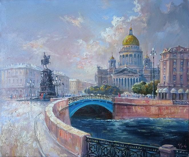 Юрий Степанов / Yuri Stepanov - Синий мост \ Blue bridge - 50x60 sm
