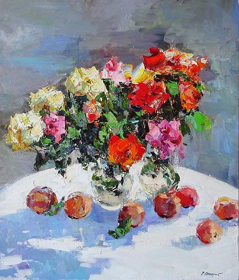 Рустем Стахурский \ Rustem Stakhursky - Розы и персики \ Roses and peaches 70x60