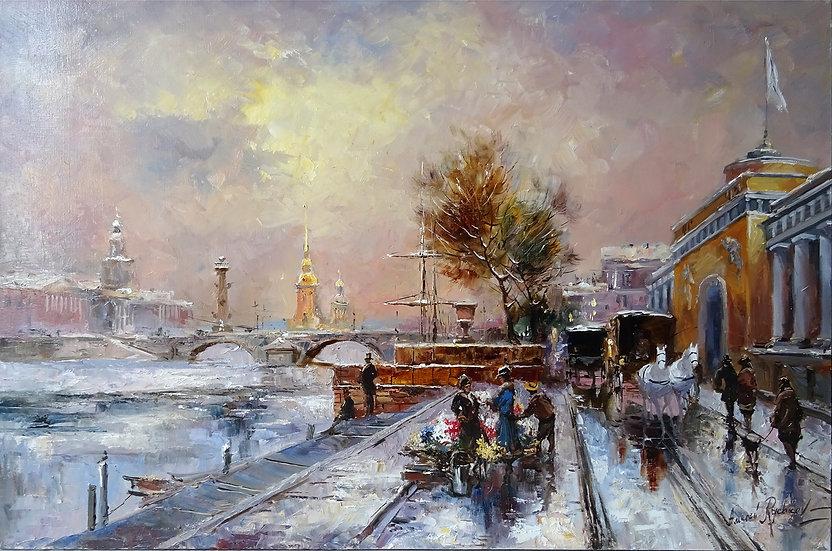 Рычков Алексей  - Первый снег Адмиралтейской набережной