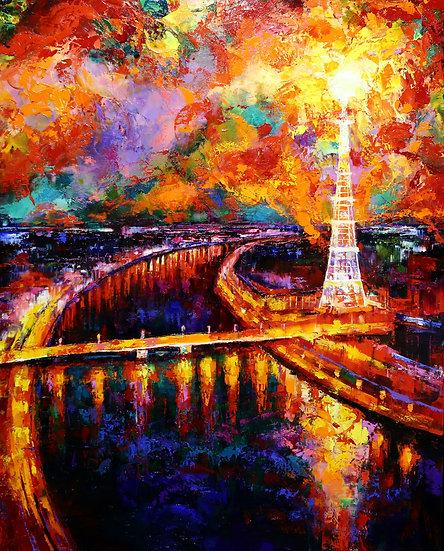 Степанов Сергей / Stepanov Sergey - Петроградская свеча \City landscape 100x80sm