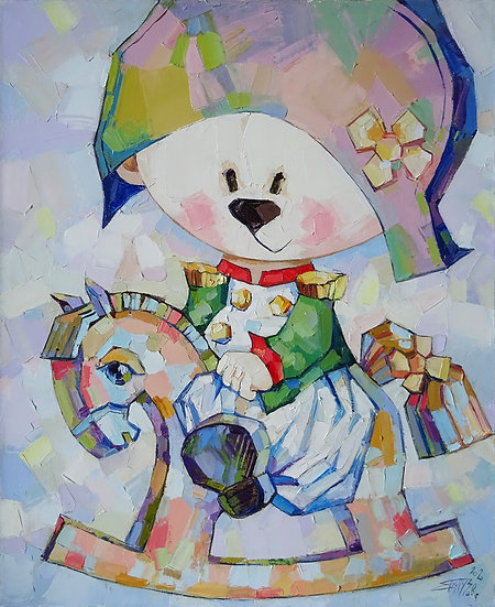 Елена Бутузова \ Elena Butuzova - Мишка на коне  \ Bear on the horse - 60x50 sm