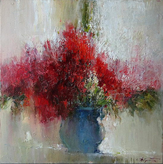 Ермолов Дмитрий / Ermolov Dmitry - Красный букет \ Red bouquet - 70x70 sm