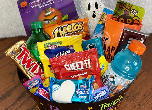 """""""Eat, Drink & Be Scary"""" Halloween Goody Basket"""