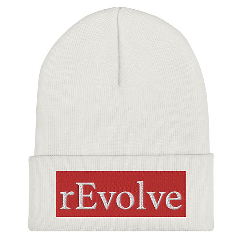 White Beanie, White On Red Logo