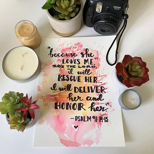 Psalm 91 -Original Watercolor