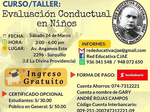 CURSO TALLER EVALUACIÓN CONDUCTUAL EN NIÑOS