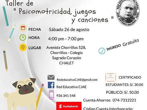 CURSO TALLER DE PSICOMOTRICIDAD JUEGOS Y CANCIONES