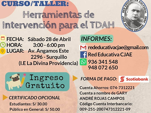 Curso/Taller: Herramientas de intervención para el TDAH