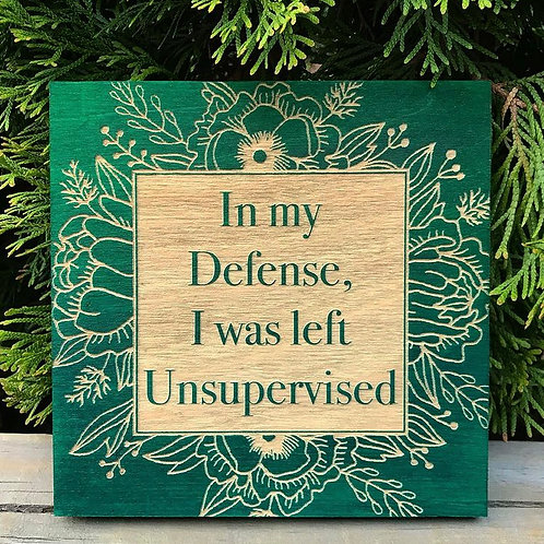 In My Defense I Was Left Unsupervised engraved sign